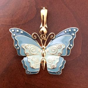 Gold & Blue Enameled Butterfly Pendant